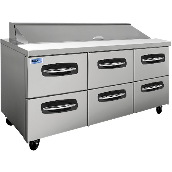 "Nor-Lake NLSP72-18-001 AdvantEDGE 72 3/8"" 6 Drawer Refrigerated Sandwich Prep Table"