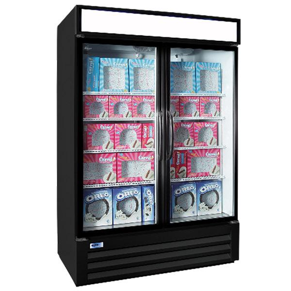 "Nor-Lake NLGFP48-HG-B AdvantEDGE 52"" Black Glass Door Merchandiser Freezer - 45.7 Cu. Ft. Main Image 1"