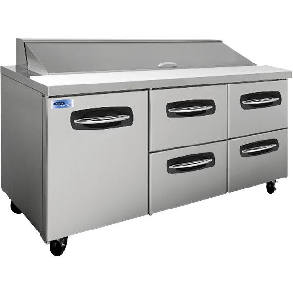 "Nor-Lake NLSP72-18-006 AdvantEDGE 72 3/8"" 1 Door 4 Drawer Refrigerated Sandwich Prep Table"