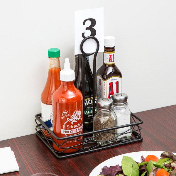 "Choice Black Rectangular Birdnest Wrought Iron Condiment Caddy with Card Holder - 8"" x 6"" x 9 1/2"""