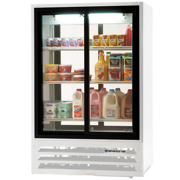"Beverage-Air LV15-1-W-54-LED 36"" White Lumavue Refrigerated Sliding Glass Door Pass-Through Merchandiser"