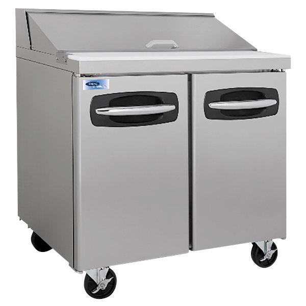 "Nor-Lake NLSP36-10 AdvantEDGE 36 3/8"" 2 Door Refrigerated Sandwich Prep Table"
