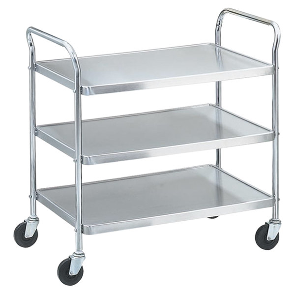 """Vollrath 97105 Knocked Down Stainless Steel 3 Shelf Utility Cart - 24"""" x 16"""" x 36 1/2"""" Main Image 1"""