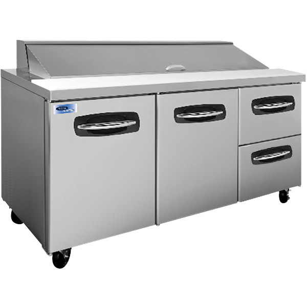 "Nor-Lake NLSP72-18-002 AdvantEDGE 72 3/8"" 2 Door 2 Drawer Refrigerated Sandwich Prep Table"