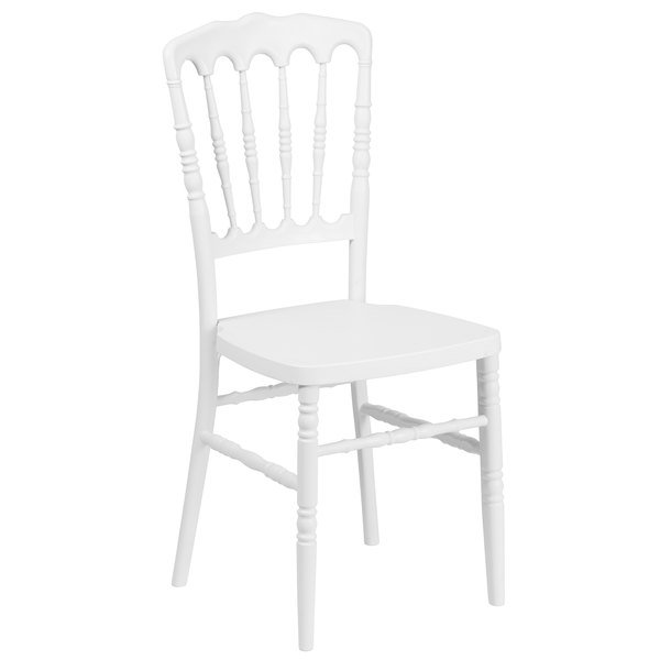 Flash Furniture LE L MON WH GG Hercules White Napoleon Chiavari Resin  Stacking Chair