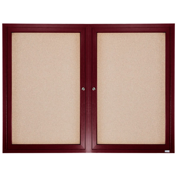 Aarco Cbc3648r 36 X 48 Enclosed Indoor Hinged Locking 2 Door Bulletin Board With Cherry Frame