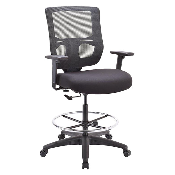 Attirant Eurotech EHS5499 Apollo II Series Black Mesh Mid Back Swivel Office Stool  With Extended Height