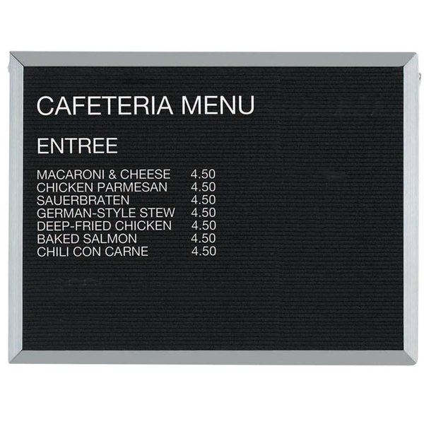 """Aarco BOFD3036 30"""" x 36"""" Black Felt Open Face Horizontal Indoor Message Board with Aluminum Frame and 3/4"""" Letters"""