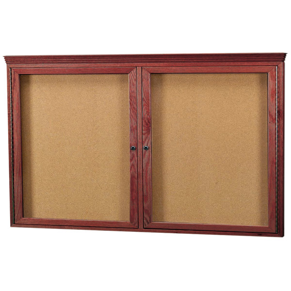 """Aarco CBC3660RC 36"""" x 60"""" Enclosed Indoor Hinged Locking 2 Door Bulletin Board with Cherry Frame and Crown Molding"""
