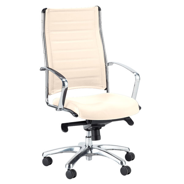 Eurotech LE811WHT Europa Leather Series White Leather High Back Swivel  Office Chair