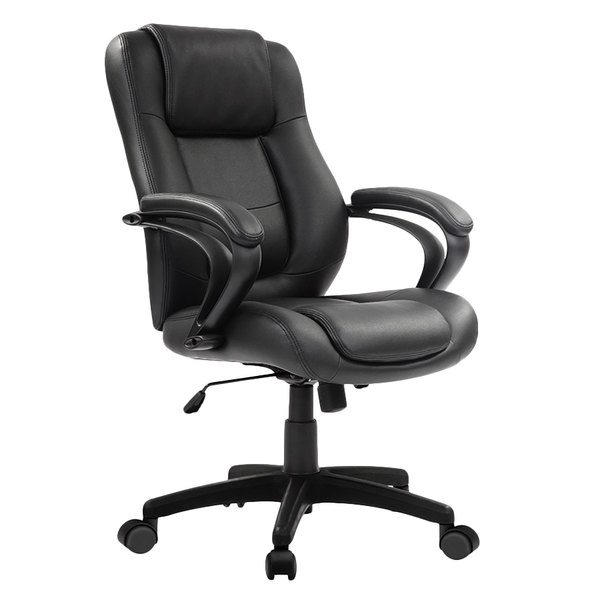Eurotech Le522 Pembroke Black Leather Mid Back Swivel Office Chair With Padded Arm Rests