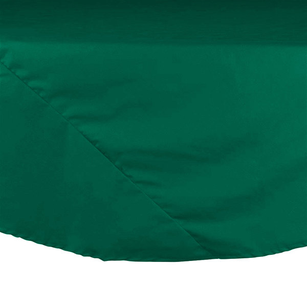 "Intedge 120"" Round Green Hemmed Polyspun Cloth Table Cover Main Image 1"