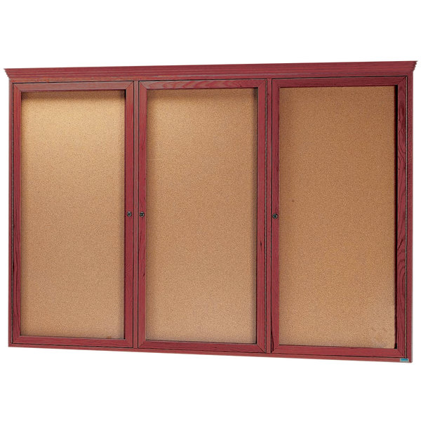 "Aarco CBC4872RC 48"" x 72"" Enclosed Indoor Hinged Locking 3 Door Bulletin Board with Cherry Frame and Crown Molding"