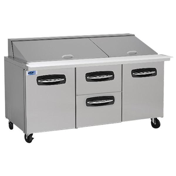 "Nor-Lake NLSMP72-30-004 AdvantEDGE 72 3/8"" Mega Top 2 Door / 2 Drawer Refrigerated Sandwich Prep Table"