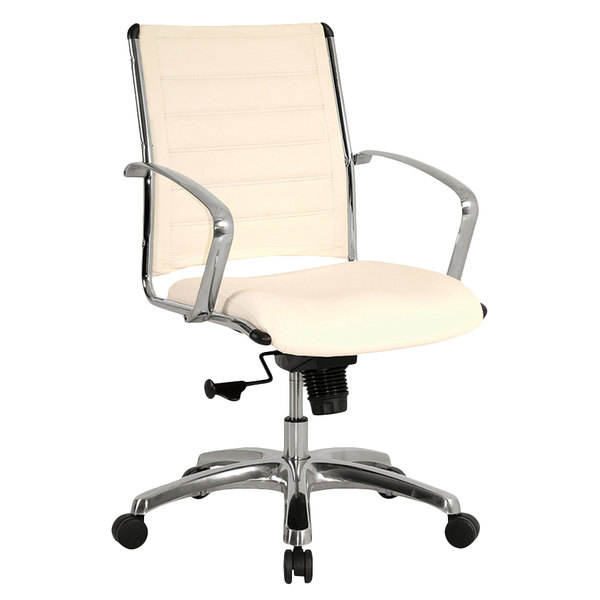 Eurotech LE822WHT Europa Leather Series White Leather Mid Back Swivel Office Chair
