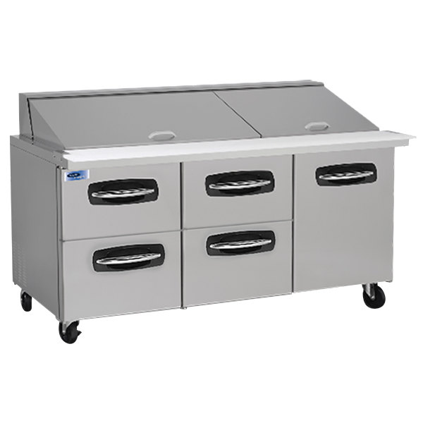 "Nor-Lake NLSMP72-30-007 AdvantEDGE 72 3/8"" Mega Top 1 Door / 4 Drawer Refrigerated Sandwich Prep Table Main Image 1"