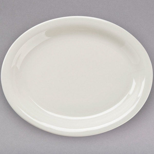 Core 9 1/2 inch x 7 1/4 inch Ivory (American White) Narrow Rim Oval China Platter - 24/Case