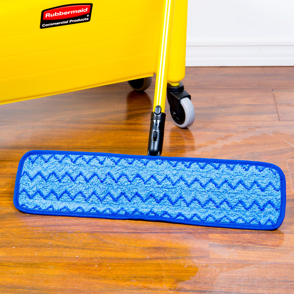 18-inch Rubbermaid Commercial Products HYGEN Microfiber Damp Room Mop Pad Blue FGQ41000BL00