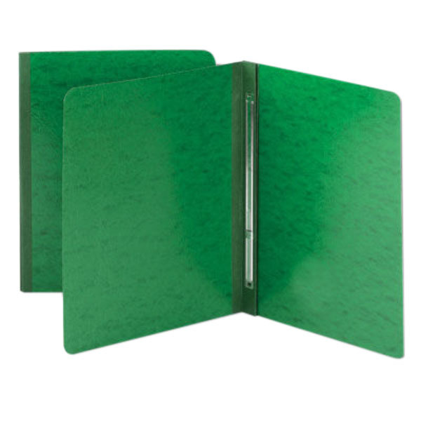 "Smead 81451 8 1/2"" x 11"" Green Pressboard Side Opening Report Cover with Prong Fastener - 3"" Capacity, Letter"