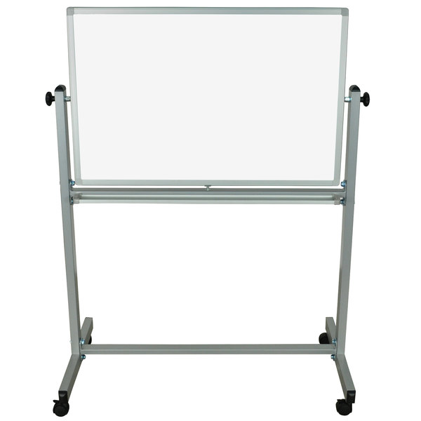 """Luxor MB3624WW 36"""" x 24"""" Double-Sided Whiteboard with Aluminum Frame and Stand"""