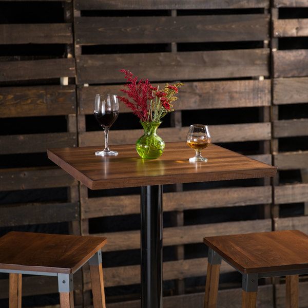 """Lancaster Table & Seating 24"""" x 24"""" Solid Wood Live Edge Table Top with Antique Walnut Finish"""