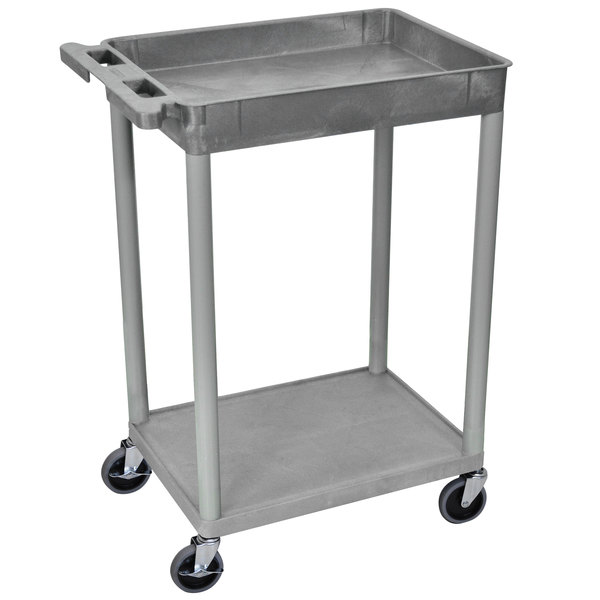 "Luxor STC12-G Gray 1 Tub and 1 Flat Shelf Utility Cart - 24"" x 18"" Main Image 1"