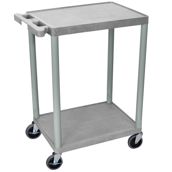 "Luxor STC22-G Gray 2 Flat Shelf Utility Cart - 24"" x 18"" Main Image 1"