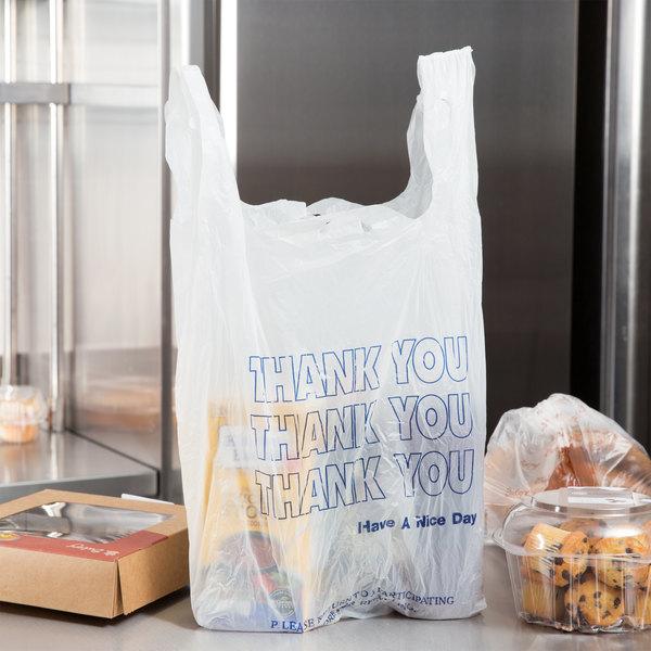 17 x 10 x 6 Plastic White Flower T-Shirt Bags 1000ct 1//8 Shopping Bags