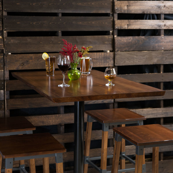 """Lancaster Table & Seating 30"""" x 48"""" Solid Wood Live Edge Table Top with Antique Walnut Finish"""