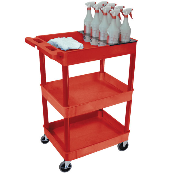 Luxor RDSTC111H-RD Red 3 Tub Shelf Utility Cart with Bottle Holder ...