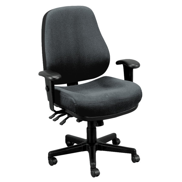 Eurotech 24/7-5801 24/7 Series Dove Charcoal Fabric Mid Back Swivel Office Chair Main Image 1