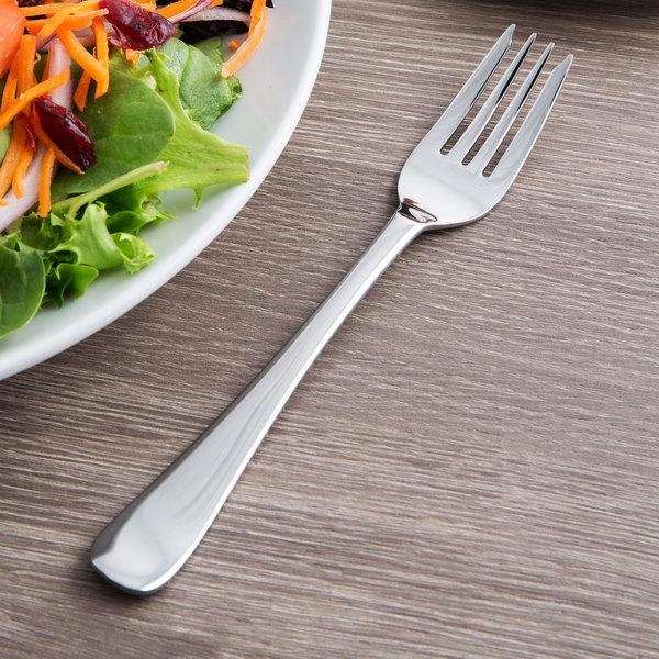 "World Tableware 467 038 Auberge 6 3/4"" 18/0 Stainless Steel Heavy Weight Salad Fork - 36/Case"