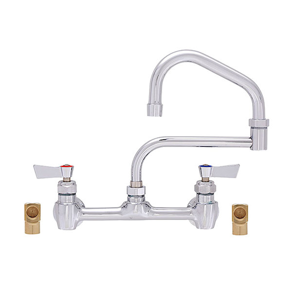 """Fisher 55565 Backsplash Mounted Faucet with 8"""" Centers, 15"""" Double-Jointed Swing Nozzle, 2.2 GPM Aerator, Lever Handles, and Elbows"""