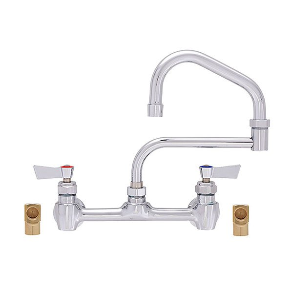 """Fisher 55603 Backsplash Mounted Faucet with 8"""" Centers, 21"""" Double-Jointed Swing Nozzle, 2.2 GPM Aerator, Lever Handles, and Elbows"""