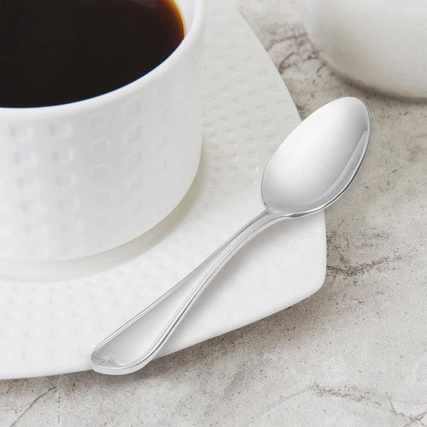 "World Tableware 239 007 Antique 4 1/4"" 18/0 Stainless Steel Heavy Weight Demitasse Spoon - 36/Case"