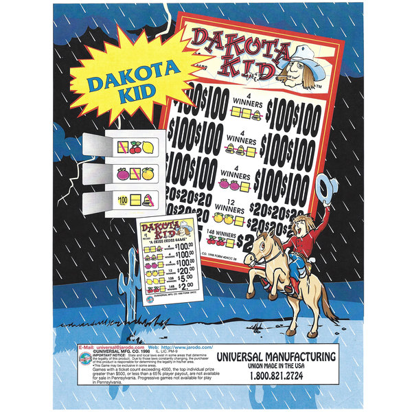 """Dakota Kid"" 3 Window Pull Tab Tickets - 2,628 Tickets Per Deal - Total Payout: $2,276"