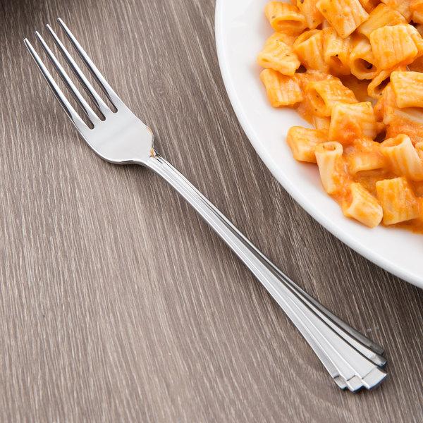 """World Tableware 968 030 Alexis 7 5/8"""" 18/0 Stainless Steel Heavy Weight Dessert Fork - 36/Case"""