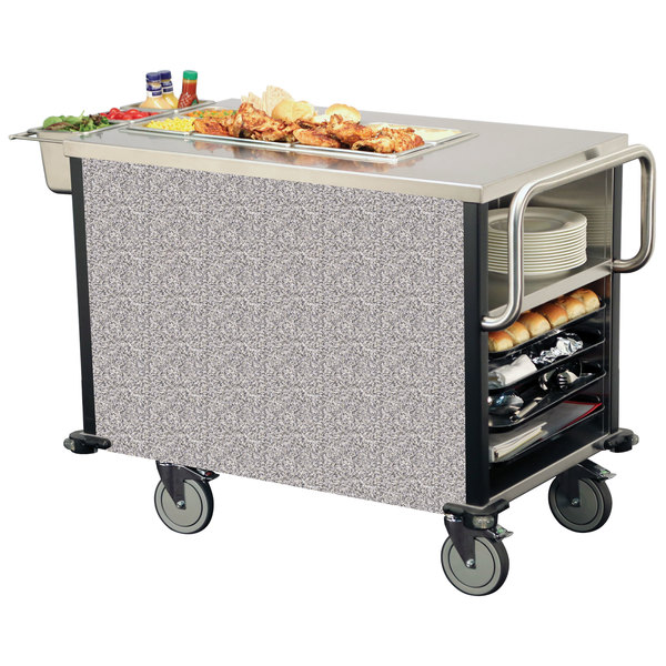 Lakeside 6754 SuzyQ Gray Sand Dining Room Meal Serving System with One Heated Well - 120V