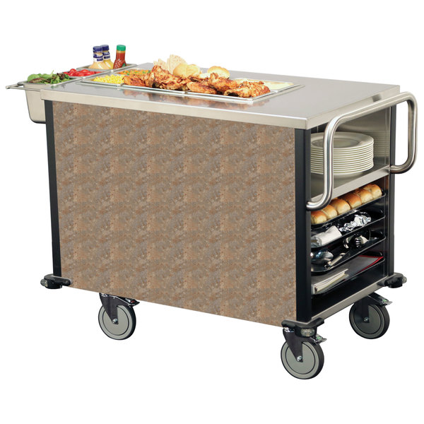 Lakeside 6754 SuzyQ Beige Slate Dining Room Meal Serving System with One Heated Well - 120V