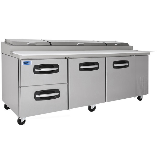 "Nor-Lake NLPT93-003 AdvantEDGE 93 3/8"" 2 Door 2 Drawer Refrigerated Pizza Prep Table"