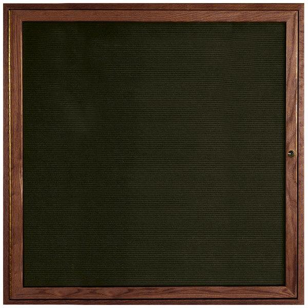 "Aarco WDC3636 36"" x 36"" Enclosed Hinged Locking 1 Door Black Felt Message Board with Walnut Frame"