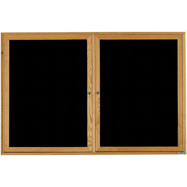 """Aarco ODC3660 36"""" x 60"""" Enclosed Hinged Locking 2 Door Black Felt Message Board with Natural Oak Frame"""