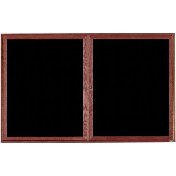 "Aarco CDC4872 48"" x 72"" Enclosed Indoor Hinged Locking 2 Door Black Felt Message Board with Cherry Frame"