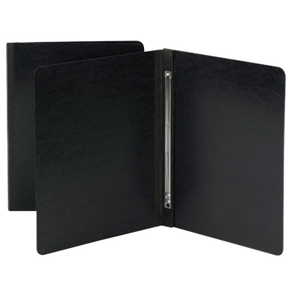 """Smead 81151 8 1/2"""" x 11"""" Black Pressboard Side Opening Report Cover with Prong Fastener - 3"""" Capacity, Letter"""