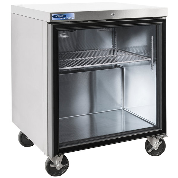 "Nor-Lake NLURG27A-015 AdvantEDGE 27 1/2"" Undercounter Refrigerator with Door Lock and Glass Door"