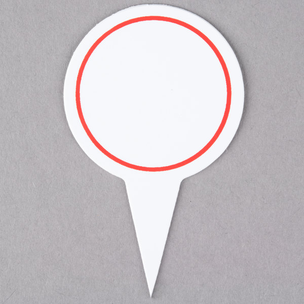 Round Write On Deli Sign Spear with Solid Red Border - 25/Pack Main Image 1