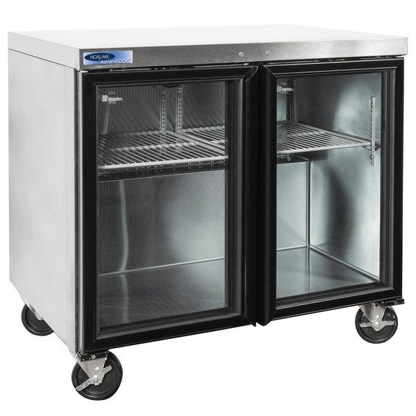 "Nor-Lake NLURG36A-015 AdvantEDGE 36"" Undercounter Refrigerator with Door Locks and Glass Doors"