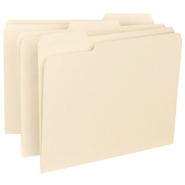 Smead 10230 Letter Size File Folder - Interior Height with 1/3 Cut Assorted Tab, Manilla - 100/Box Main Image 1