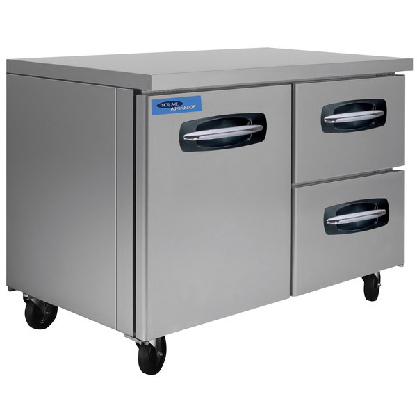 "Nor-Lake NLUR48A-002 AdvantEDGE 48"" Undercounter Refrigerator with 1 Door and 2 Right Side Drawers"