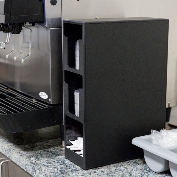 Vollrath CTL-2VS Black Vertical Countertop 2 T-Lid Organizer with 1 Straw Pocket Main Image 3